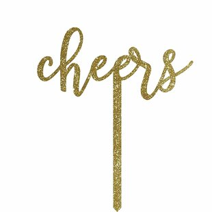 Cheers Gold Glitter Acrylic Cake Topper