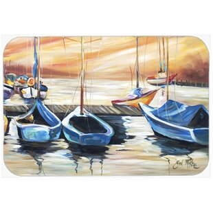 Beach View with Sailboats Glass Cutting Board By Caroline's Treasures