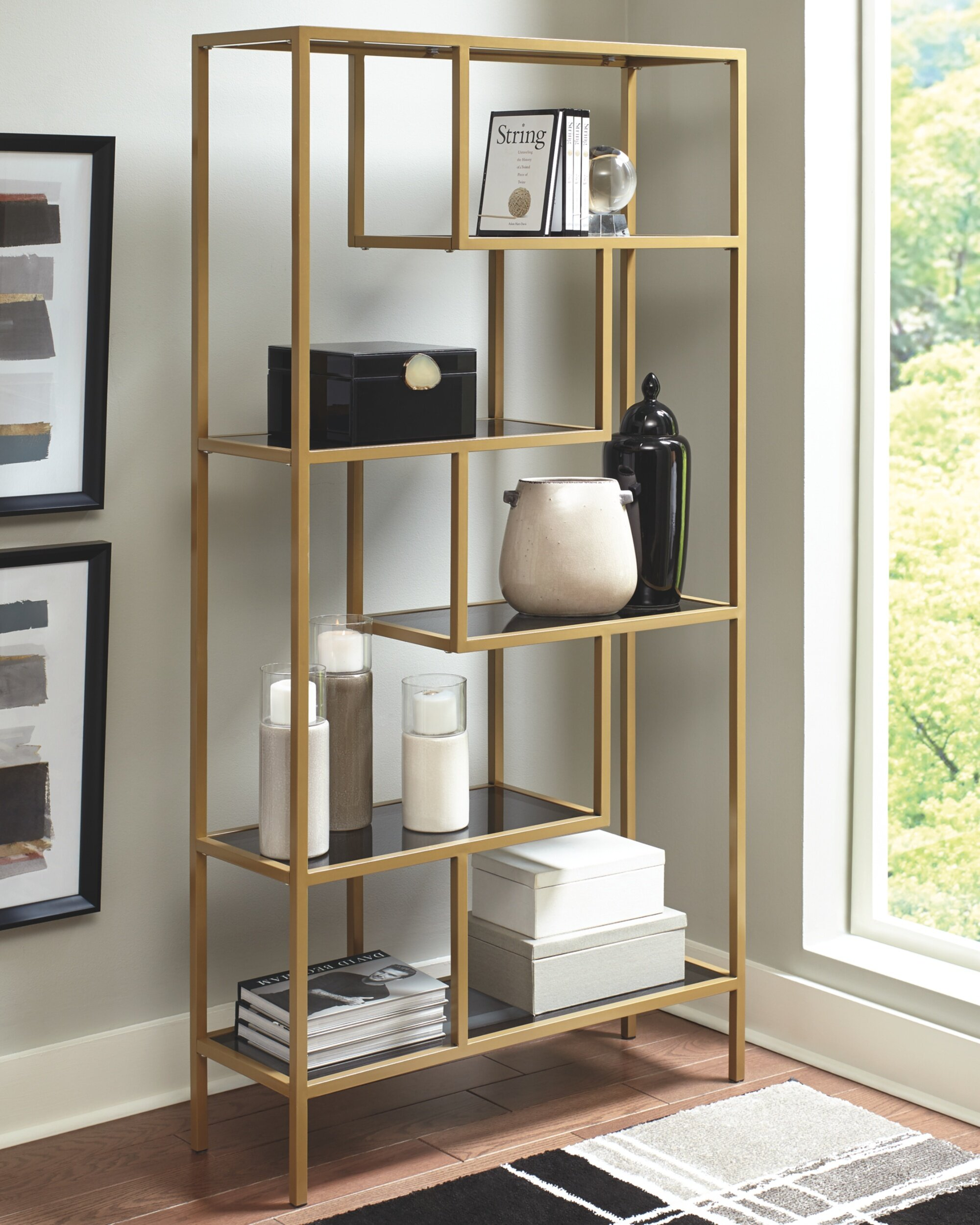Gold Flamingo Liliana 70 25 H X 36 W Metal Etagere Bookcase Reviews Wayfair