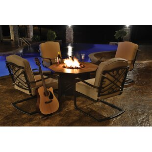 Reagan 5 Piece Sunbrella Dining Set with Cushions and Firepit by Alcott Hill