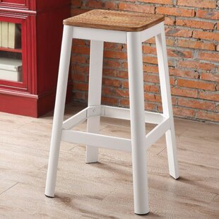 Smitherman Industrial Metal Frame and Wooden Bar Stool Gracie Oaks