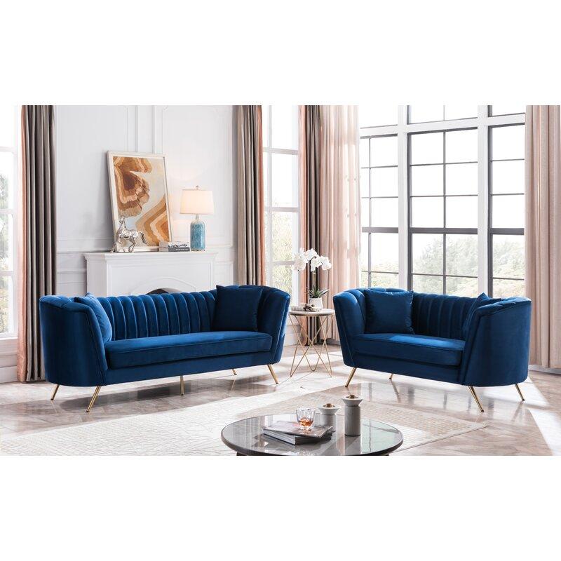 Velvet Flared Arms 2 Piece Living Room Set