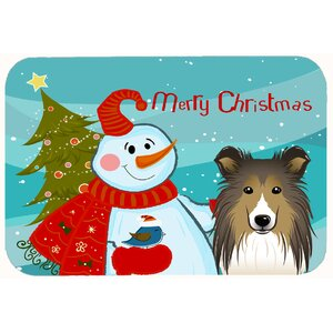 Snowman with Sheltie Kitchen/Bath Mat
