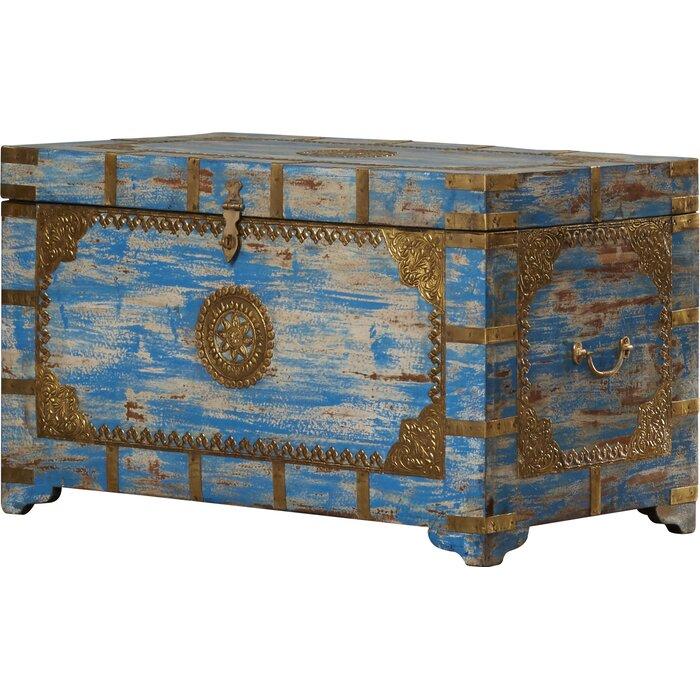 Burdette Painted Brass Inlay Storage Trunk