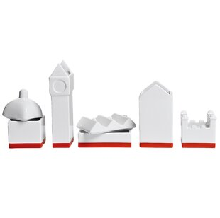 Seletti Desktructure the City 5 Piece Porcelain Desktop Organizer Set