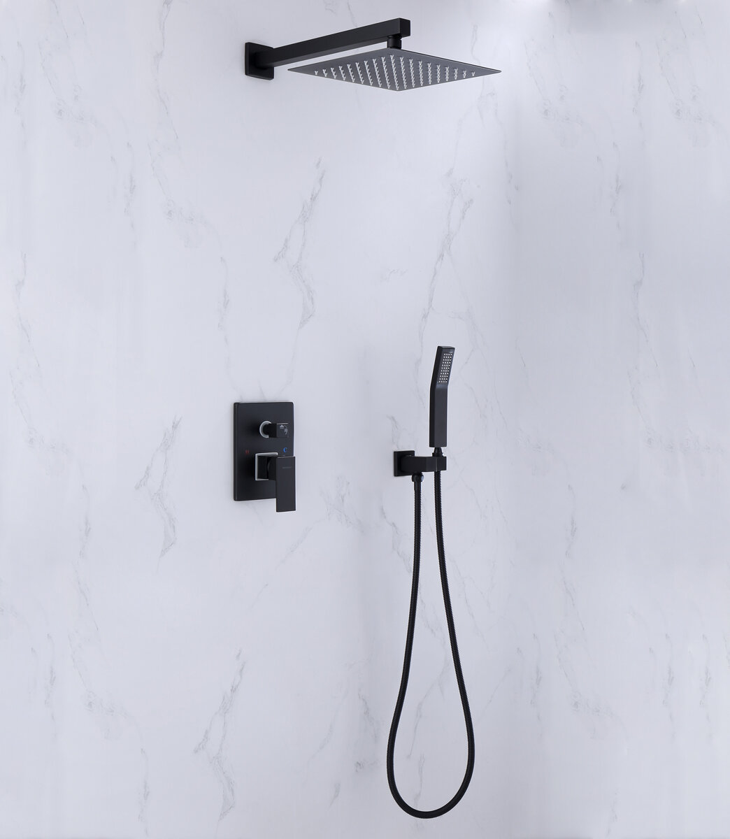 Wall Mount Bathroom Shower System Temperature Control Tub And Faucet With Rough In Valve