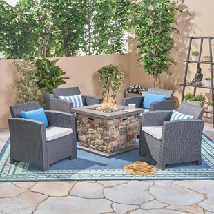 Look for Banning 5 Piece Rattan Sofa Seating Group with Cushion Best Deals