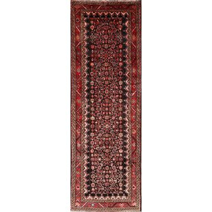 Reviews One-of-a-Kind Perine Malayer Hamedan Persian Vintage Hand-Knotted Runner 3'7 x 10'9 Wool Red/Black Area Rug By Isabelline