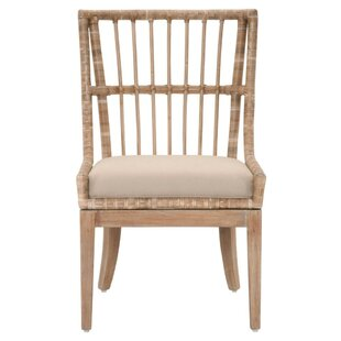 Bayou Breeze Hahn Woven Rattan Solid Wood Dining Chair (Set of 2)