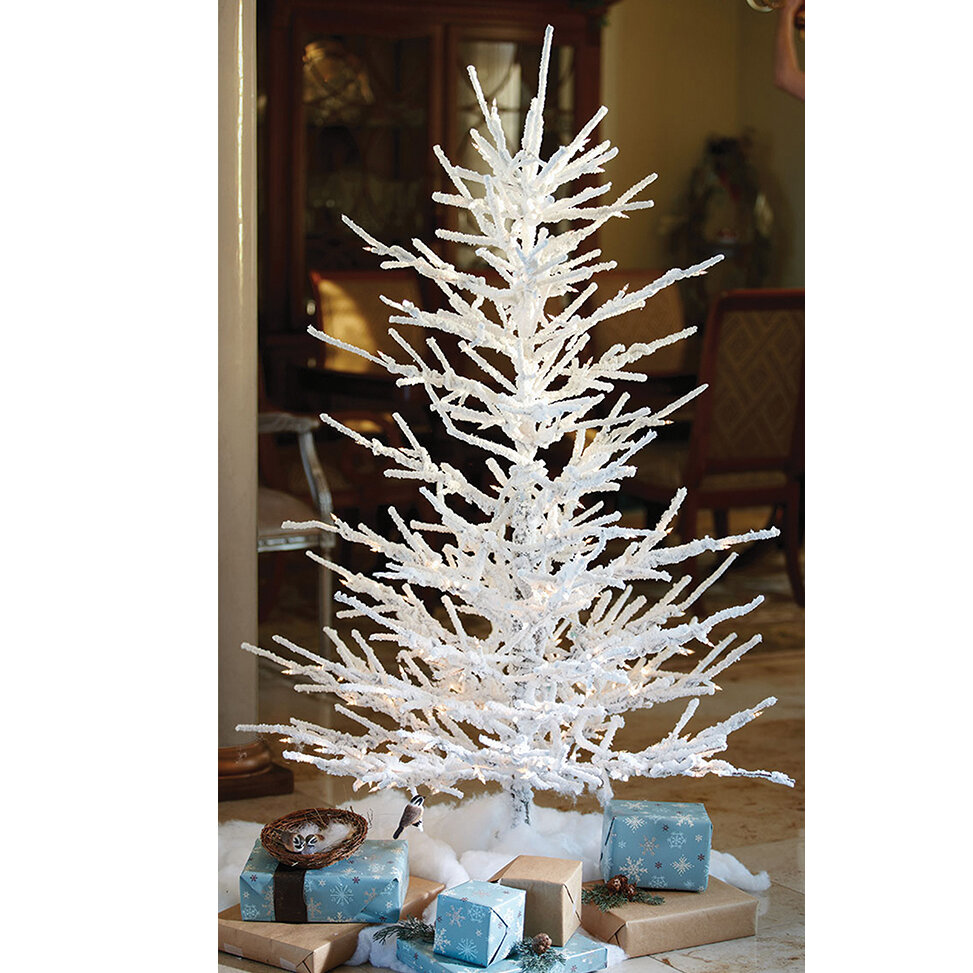 the holiday aisle pre lit flocked twig 7 white artificial christmas tree with 350 clearwhite lights with stand wayfair
