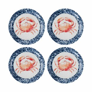 Laliberte Crab Melamine Salad or Dessert Plate (Set of 4)