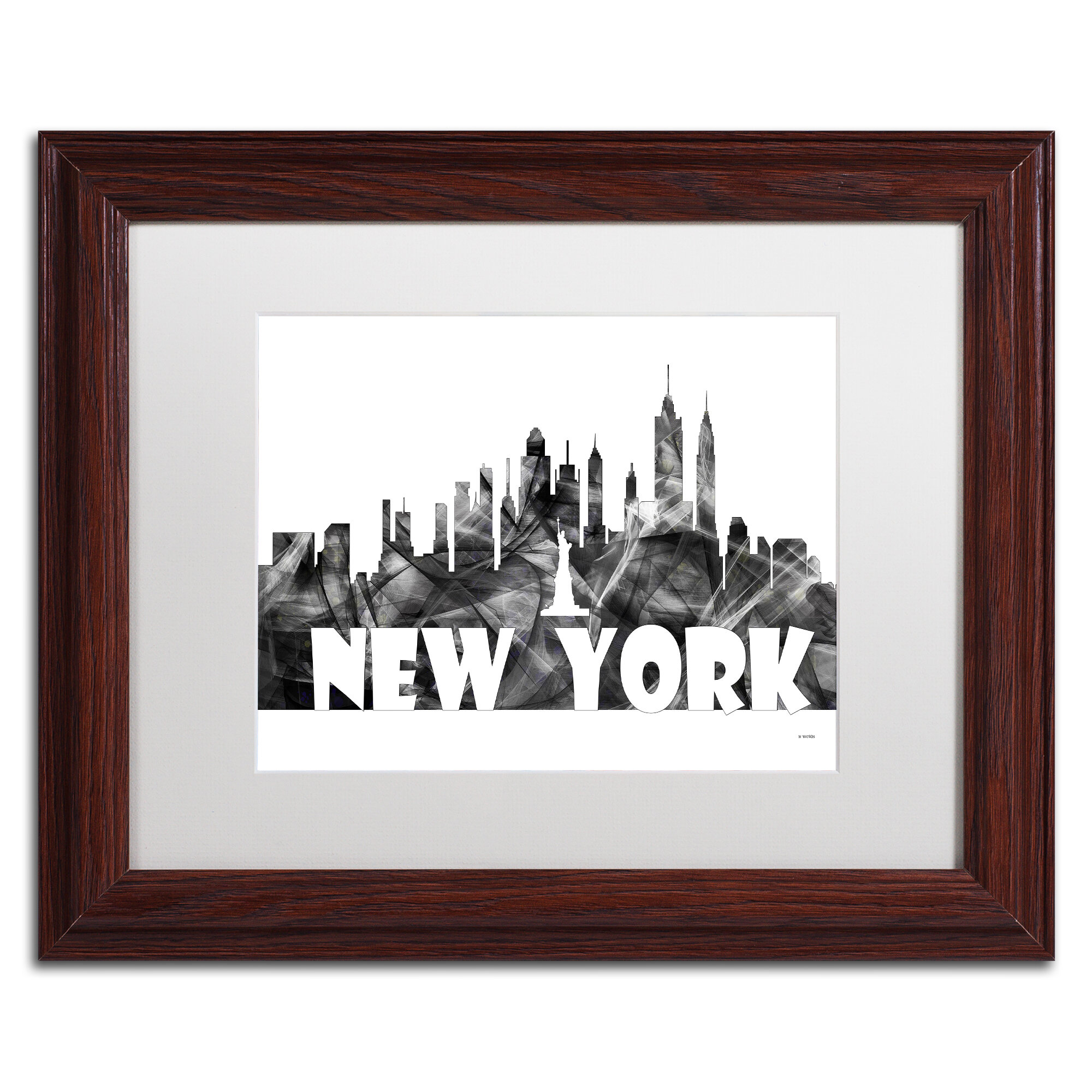 Trademark Art New York New York Skyline Bg 2 By Marlene Watson Framed Graphic Art Wayfair