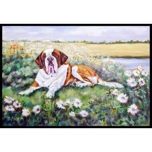 Saint Bernard in Flowers Doormat
