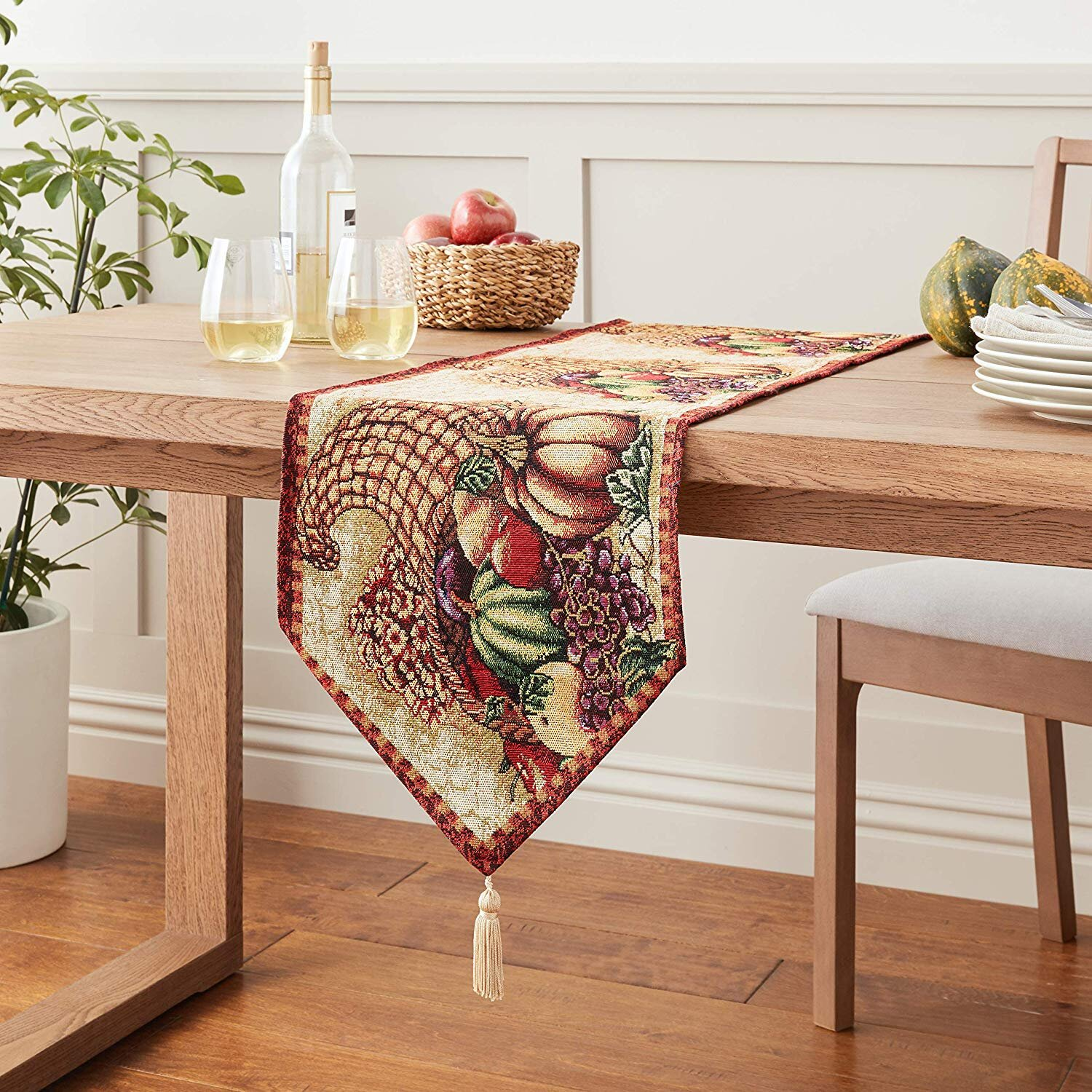 The Holiday Aisle Marcelino Cornucopia With Pumpkins And Fruit Table Runner Reviews Wayfair