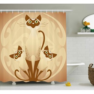 June Three Cats Feline Familly Asian Siamese Babies Kittens With Ivy Background Single Shower Curtain
