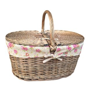 Deep Oval Picnic Basket With Rose Lining By Lily Manor