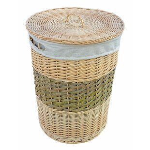 2 Toned Round Wicker Laundry Basket With Lid By Brambly Cottage
