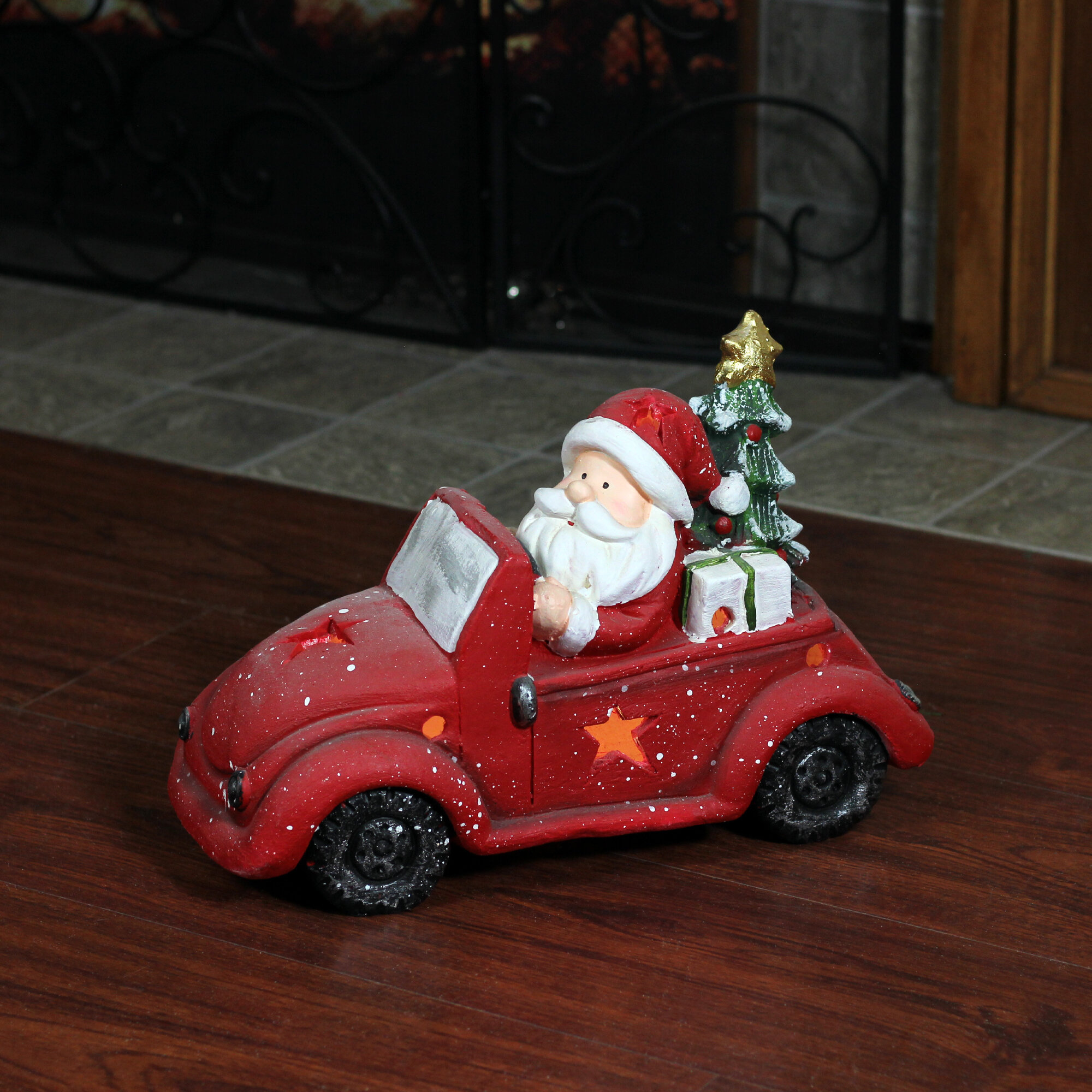 Northlight Santa Claus Driving Red Vintage Beetle With A Christmas Tree Table Top Decoration Wayfair