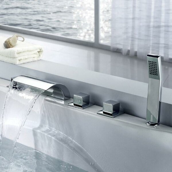 Merveilleux Sumerain Triple Handle Deck Mount Waterfall Tub Faucet With Handshower U0026  Reviews   Wayfair