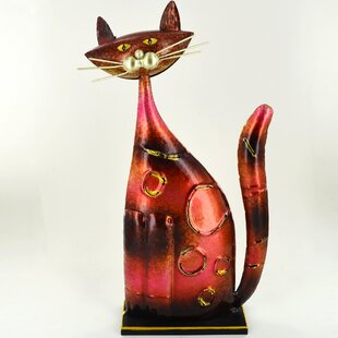Animal Colourful Standing Metal Decorative Cat Statue By Happy Larry