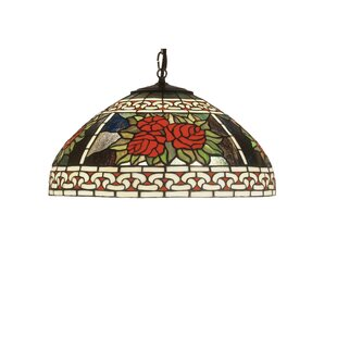 Meyda Tiffany Floral Roses and Scrolls 1-Light Inverted Pendant