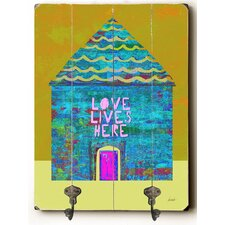 Love Lives Here Planked Wood Wall Mounted Coat Rack by Zipcode Design