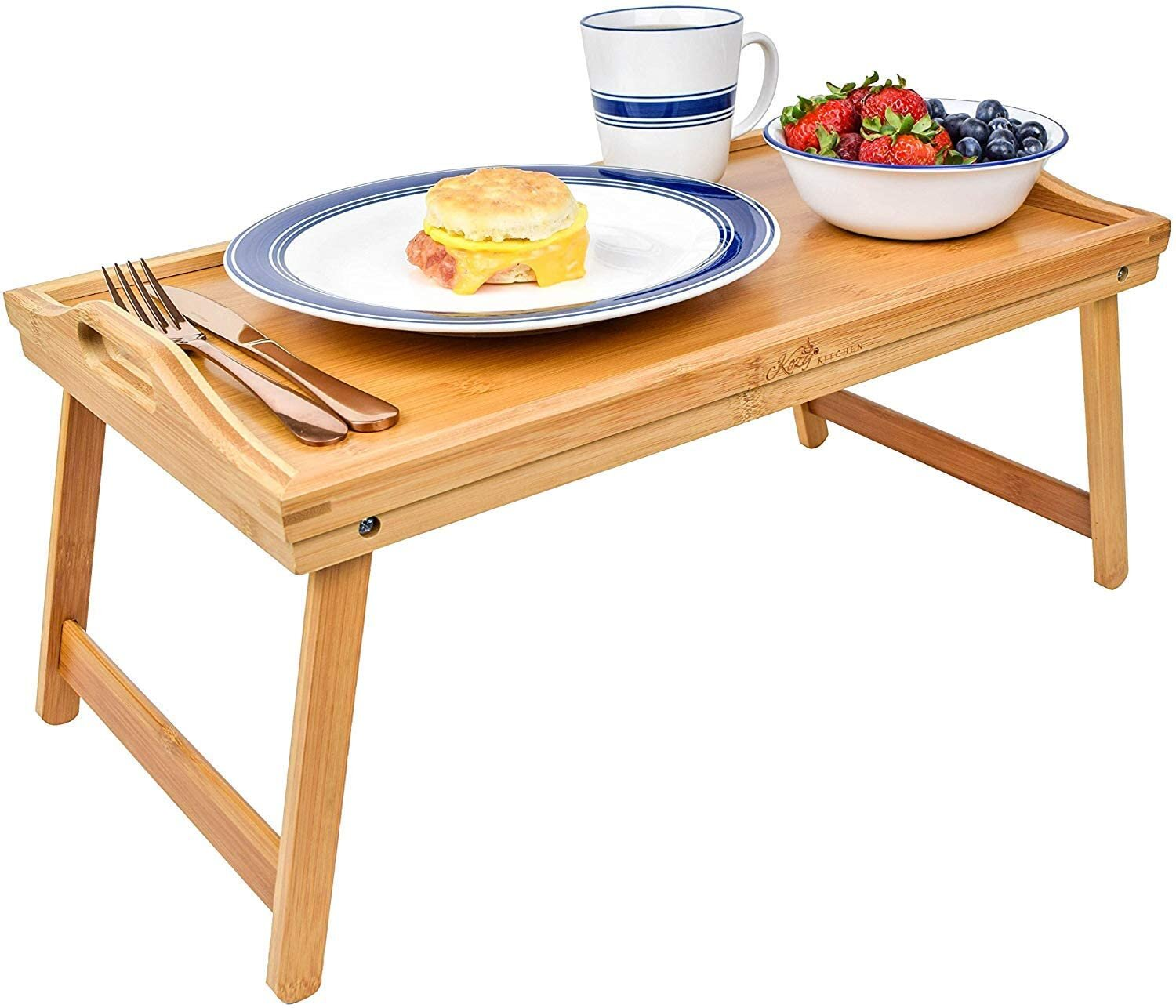 Bamboo Wood Wooden Breakfast Tea Serving Lap Tray Bed Table With Handles New