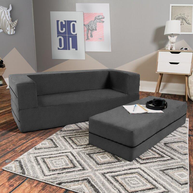 Mack & Milo Mendonca Big Kids Convertible Sleeper Sofa and Ottoman ...