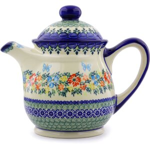 Red Cornflower And Blue Butterflies 1.44 qt. Stoneware Teapot