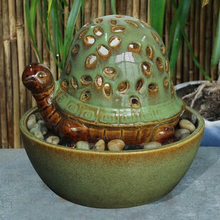 Hi-Line Gift Ltd. Ceramic Turtle in Bowl Fountain with Light