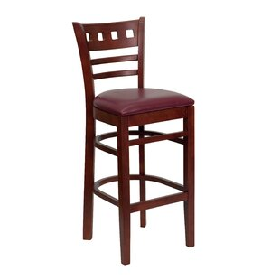Chafin American Back Wooden Restaurant Bar Stool In Mahogany