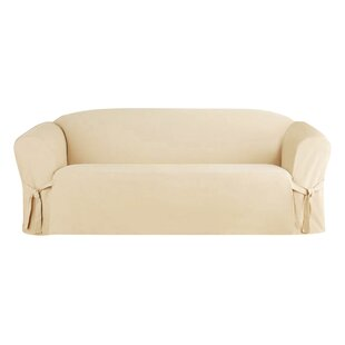 Solid Box Cushion Sofa Slipcov..
