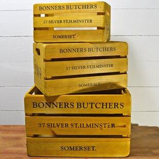 Vintage British Butcher Wooden 3 Piece Organiser Box Set By Brambly Cottage