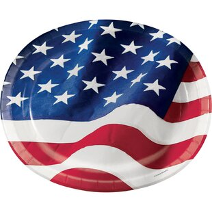 Patriotic Flag Oval Paper Disposable Dinner Plate (Set of 24)