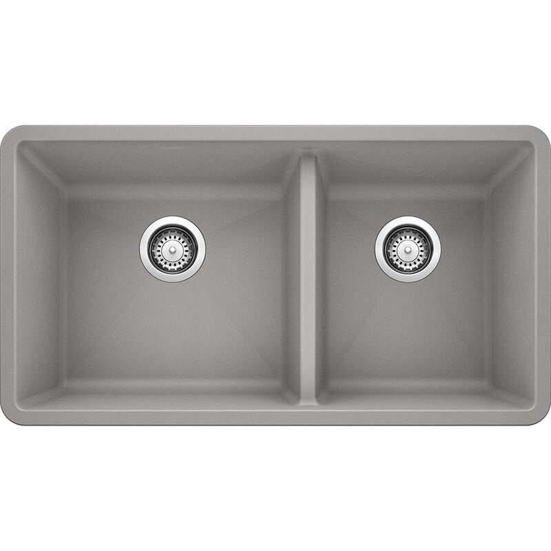 Blanco Precis Silgranit 33 L X 18 W Double Basin Undermount Kitchen Sink Reviews Wayfair