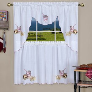 Emsley Fast Food Embellished Tier and Swag Kitchen Curtain Set
