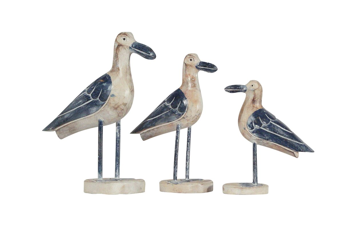 Wood Seagull Sculpture Set Pictures Gallery