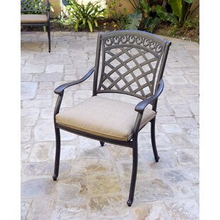 Delphos Stacking Patio Dining Chair with Cushion (Set of 4)