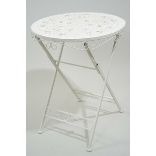 Hadley Floral Mosaic Round Folding Outdoor Garden Patio Bistro Table by Ophelia & Co.