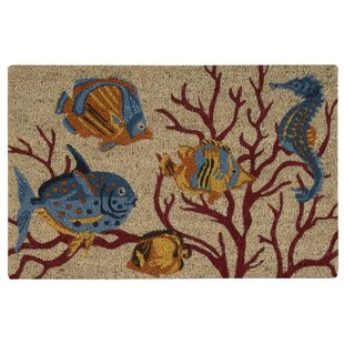 Greetings Swimming Fish Beige Doormat by Waverly