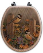 WGI-GALLERY Linda's Chickadees Oak Round Toilet Seat