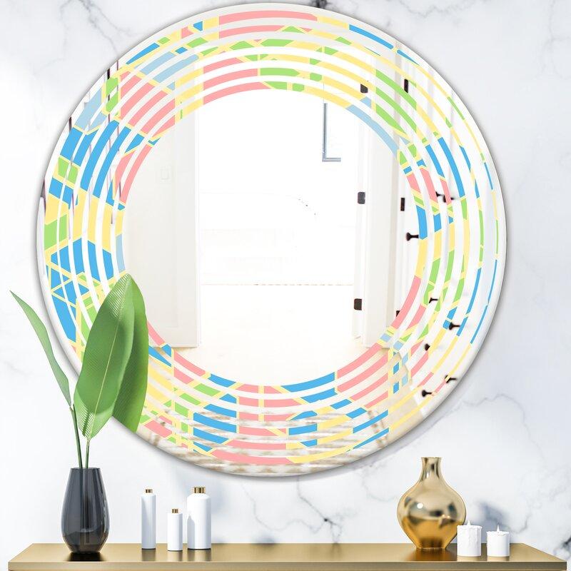 East Urban Home Wave Geometrical Ii Modern Frameless Wall Mirror