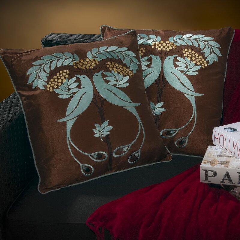 Anna Light Embroidered Throw Pillow