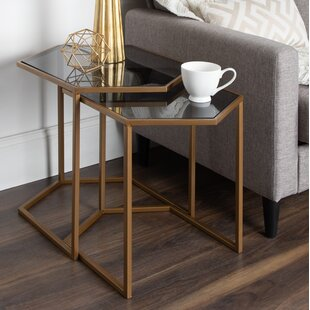 Compare prices Becky 2 Piece Hexagon Nesting Tables by Ivy Bronx