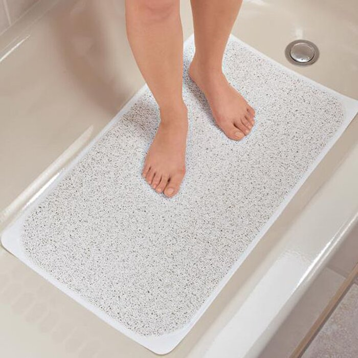 Nonslip Hydro Tub Mats Shower Floor Soft Loofah Texture Foot Massage Suction Cup