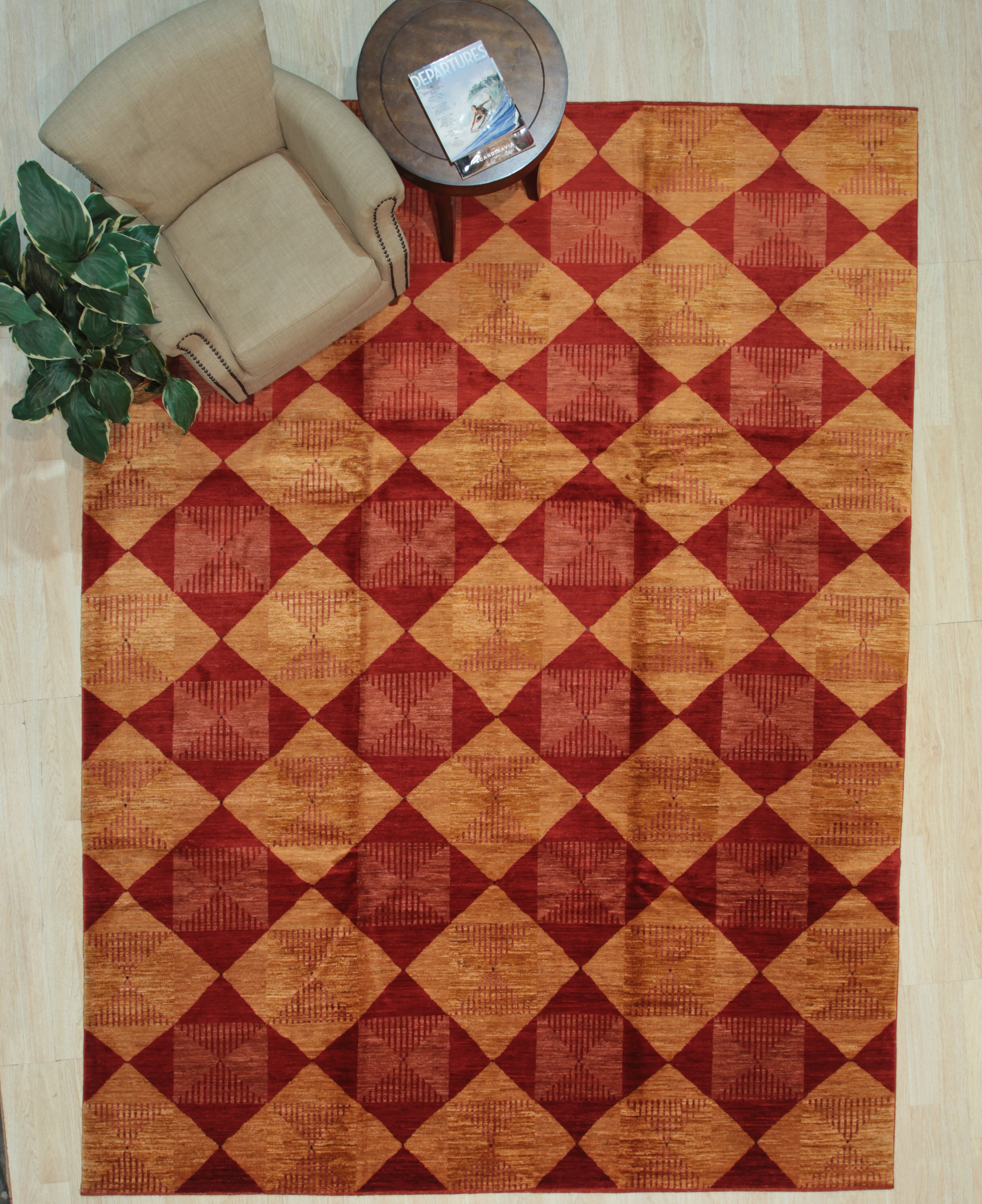 Foundry Select Runner Maurin Geometric Hand Knotted Wool Red Area Rug