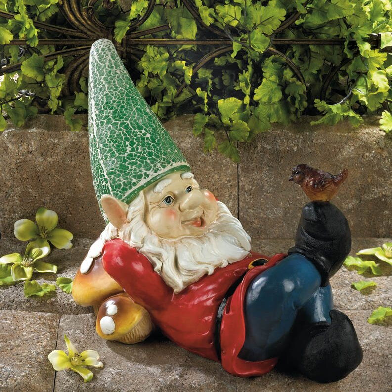 Zingz & Thingz Lazy Gnome Solar Statue & Reviews | Wayfair on