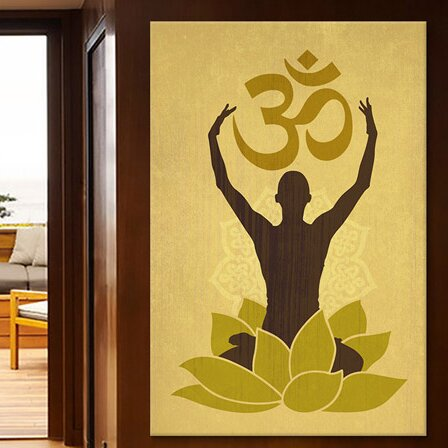 Icanvas Om Lotus Flower Graphic Art Print On Canvas In Green Wayfair