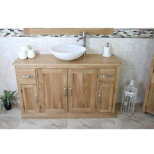 Easley Solid Oak 123mm Free-Standing Vanity Unit By Gracie Oaks