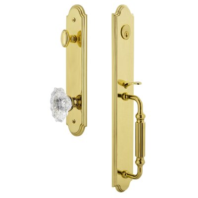 Privacy Polished Brass 2.375 Grandeur Newport Rosette with Versailles Crystal Knob